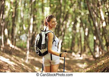 Female nordic walker