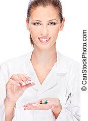female nurse holding  medics
