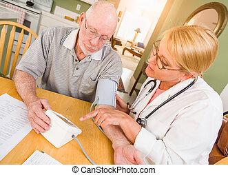 Female Nurse or Doctor Helping Senior Adult Man Take Blood Pressure In Home