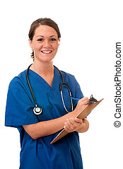 Female nurse with stethoscope and clipboard isolated on white background.