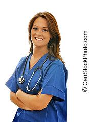 Female Nurse with Stethoscope Isolated