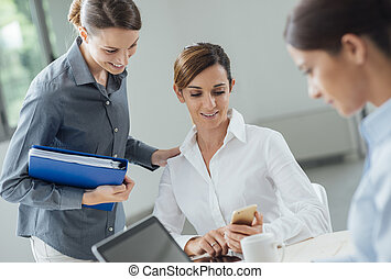 Female office workers in the office