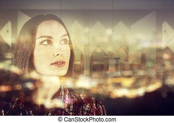 Female on city background multiexposure
