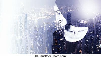 Female on city background