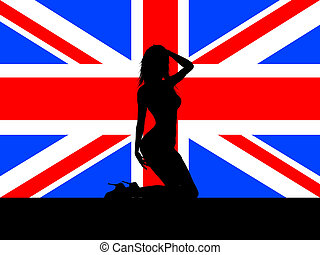 female on union jack - Silhouette of a sexy female on Union...