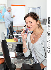 Female operator in a call center