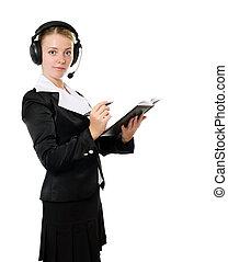 Female operator in headset