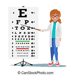 Female Ophthalmology Vector. Medical Eye Diagnostic. Doctor And Eye Test Chart In Clinic. Eyesight Acuity Exam Diagnostic Of Myopia. Vision Exam. Medicine Concept. Isolated Flat Cartoon Illustration
