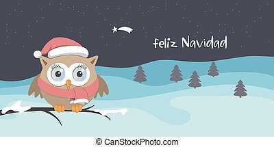Female owl with Santa Claus hat on a branch in a snowy day