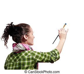 Female painter - Beautiful girl with paint brush on white...