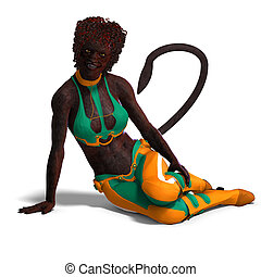 female panther fantasy creature. 3D rendering with clipping ...