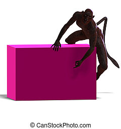 female panther fantasy creature. 3D rendering with clipping path and shadow over white
