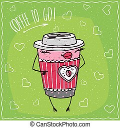 Female paper cup of coffee smiles - Cute anthropomorphic...