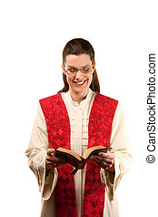 Female Pastor - pretty female pastor in robe and red stole