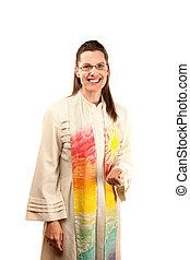 Female Pastor - pretty female pastor in robe and stole