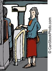 Female Paying For Bus Ride