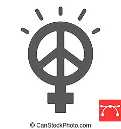 Female peace glyph icon, sexism and feminism, me too sign vector graphics, editable stroke solid icon, eps 10
