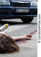 Female pedestrian after accident