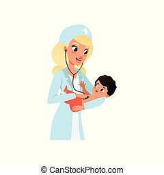 Female pediatrician in white coat doing medical examination of infant kid with stethoscope, healthcare for children vector Illustration on a white background