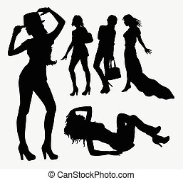 Female people silhouettes