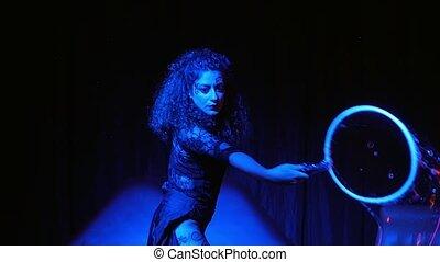 female performer in soap bubbles ma