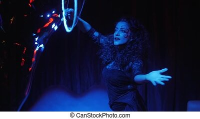 female performer in soap bubbles ma