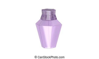 Female perfume on white background