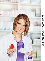 Female pharmacist chemist - Smiling pharmacist chemist woman...