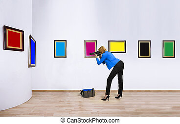 Female photographer reporter on working day