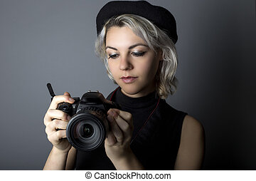 Female Photographer with DSLR Camera