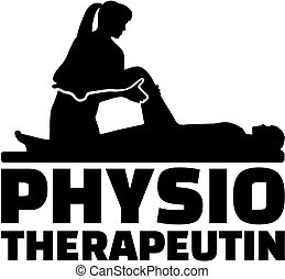Female physiotherapist job title with silhouette