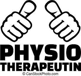 Female physiotherapist with thumbs. German T-Shirt design.