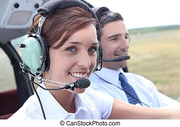 Female pilot of a light aircraft