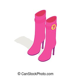Female pink high boots icon, isometric 3d style