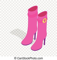 Female pink high boots isometric icon