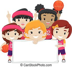 Female Players holding Blank Board - Vector Illustration of...