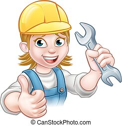 Female Plumber Cartoon Character with Spanner
