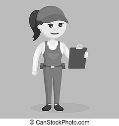 Female plumber holding clipboard black and white style