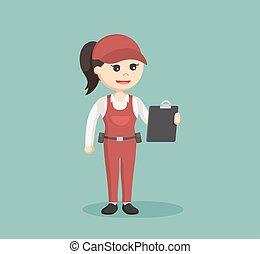 female plumber holding clipboard