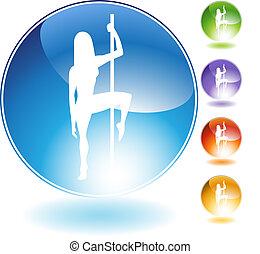 Female Pole Dancer Crystal Icon