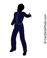 Female Police Officer Art Illustration Silhouette - Female...