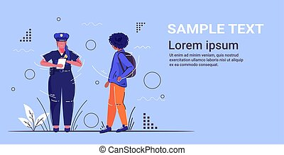 female police officer writing fine for african american man pedestrian security authority justice law service concept flat full length horizontal copy space