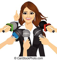 female politician or businesswoman answering press questions...