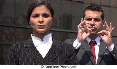 Female Politician Speaking With Sign Language Translator