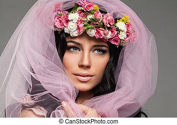 Female Portrait. Beautiful Woman Face Closeup