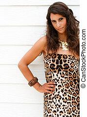 Female portrait - Fashion portrait of a beautiful brunette...