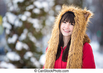 Female portrait outdoors in wintertime