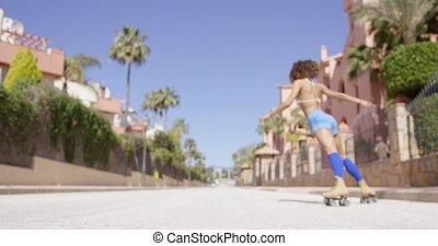 Female posing on city background - Female wearing blue...