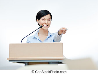 Female presenter at the board - Female speaker at the board....