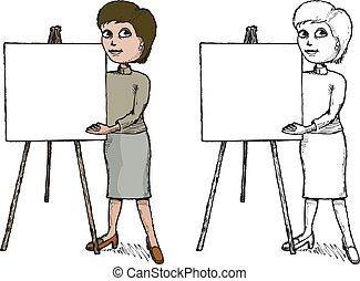 Cartoon style illustration of a woman pointing to a blank presentation poster.